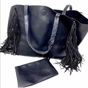 Handbags - Black fringe faux leather tote w/ small pouch NWT